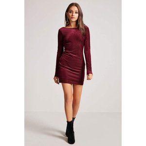 FOREVER 21 Velvet Shadow Striped Open Back Dress